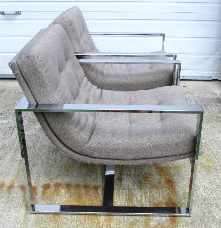 Pair of chrome cube chairs with new upholstery by Milo Baughman.