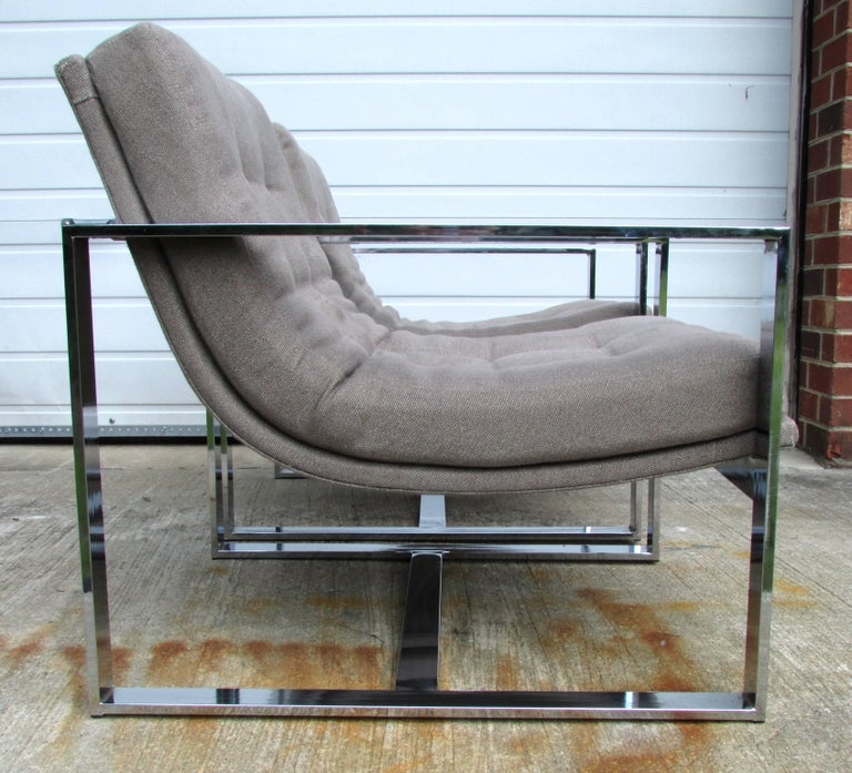 Mid-Century Modern Pair of Milo Baughman Cube Chairs For Sale