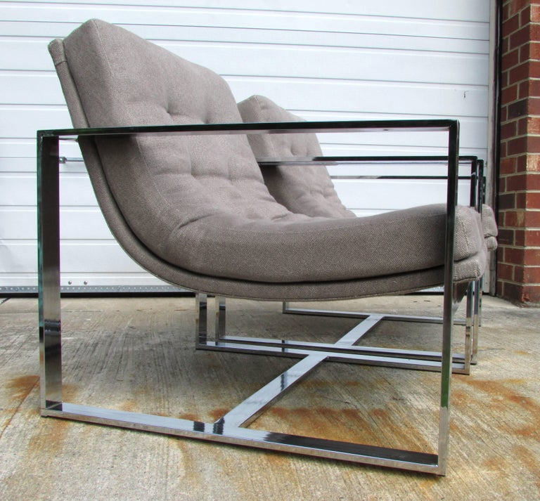 American Pair of Milo Baughman Cube Chairs For Sale