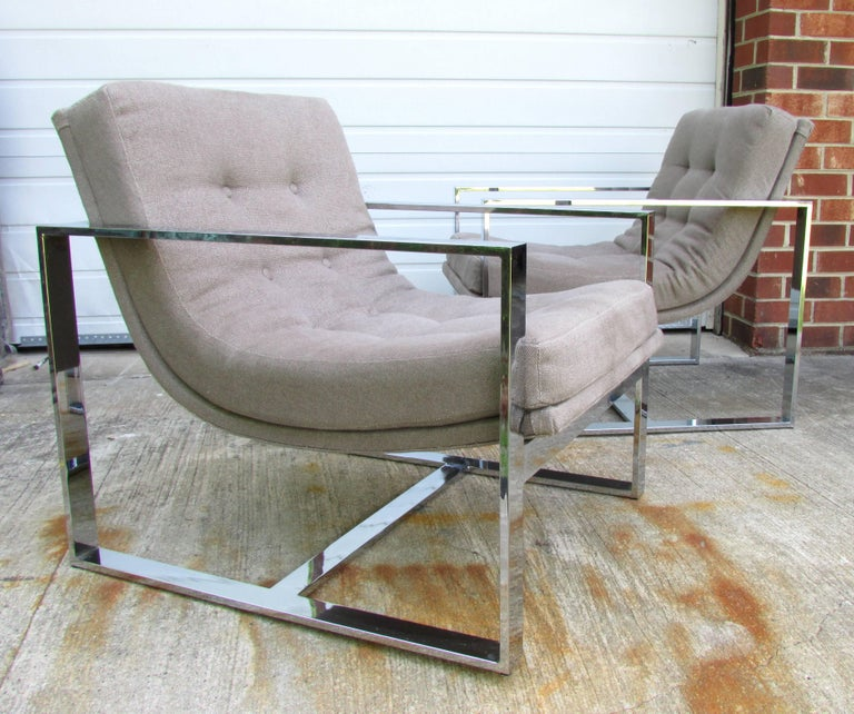 Pair of Milo Baughman Cube Chairs In Excellent Condition For Sale In High Point, NC