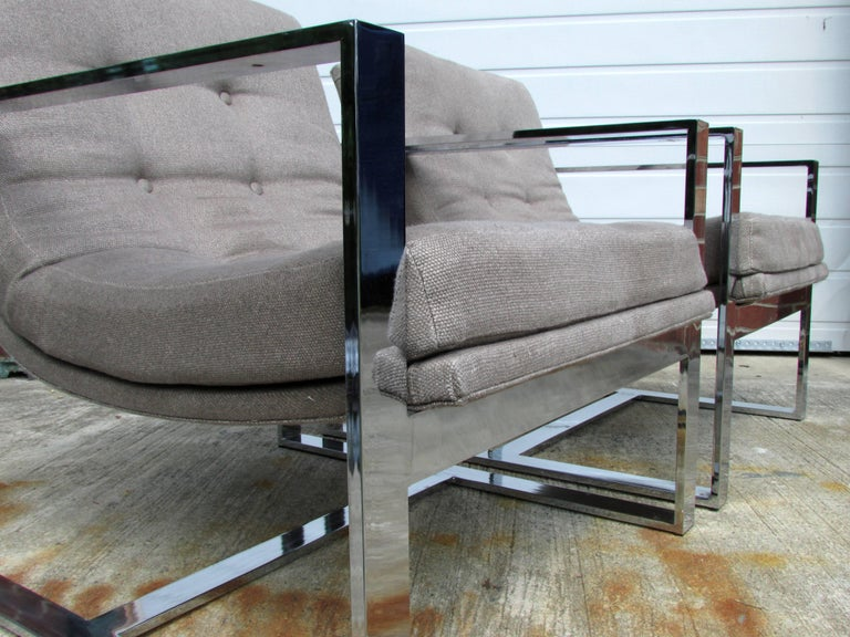 Mid-20th Century Pair of Milo Baughman Cube Chairs For Sale