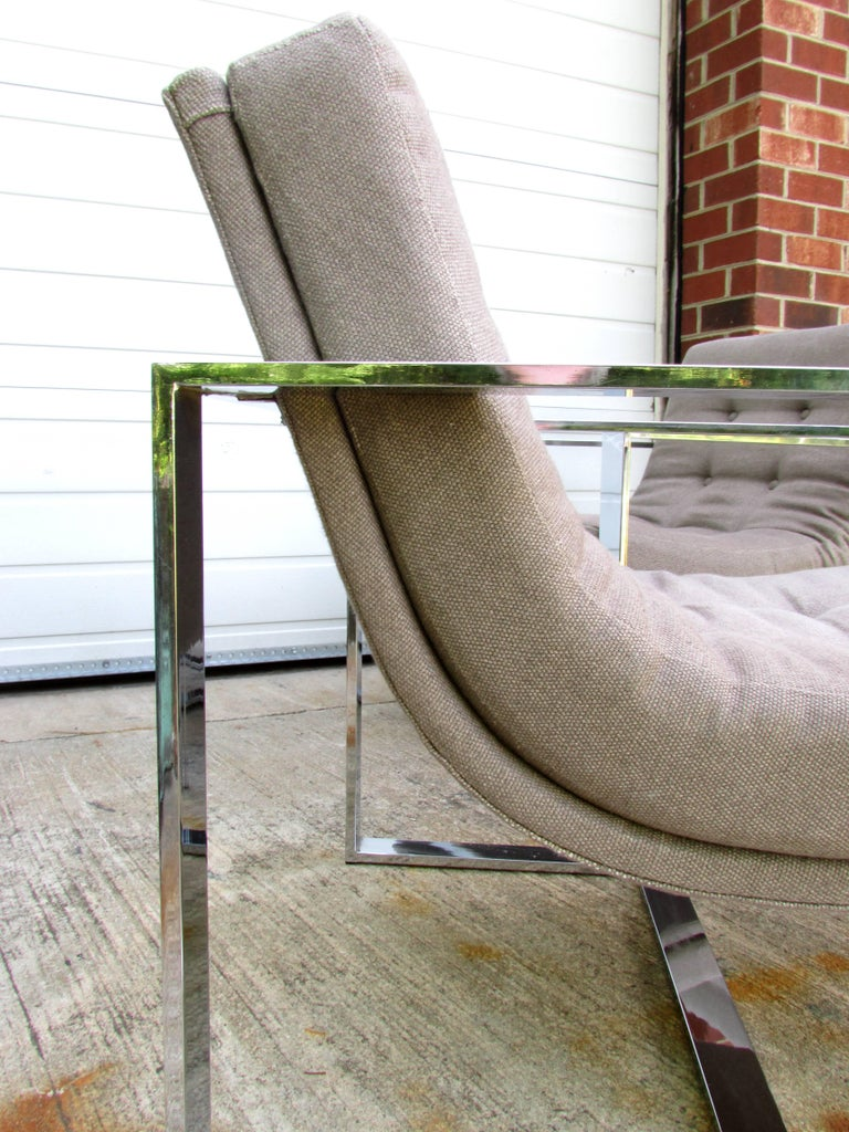 Upholstery Pair of Milo Baughman Cube Chairs For Sale