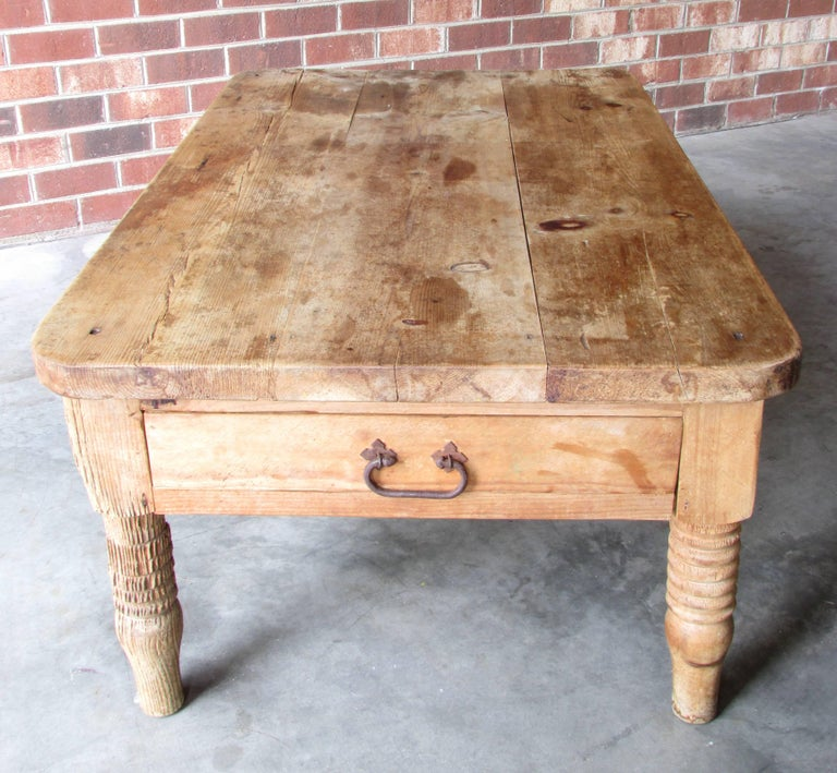 Mexican Worn and Weathered Rustic Pine Coffee Table For Sale