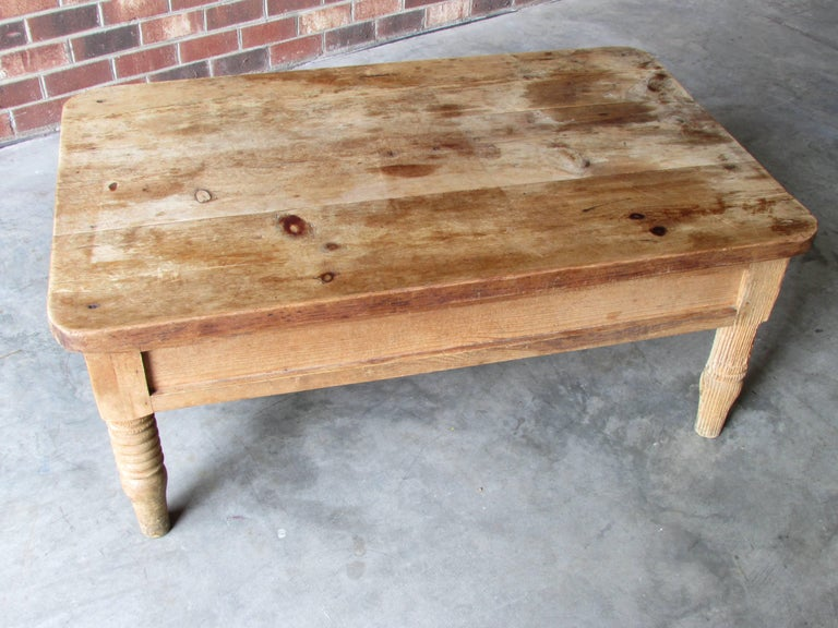 Forged Worn and Weathered Rustic Pine Coffee Table For Sale