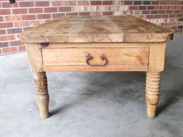 Late 20th Century Worn and Weathered Rustic Pine Coffee Table For Sale