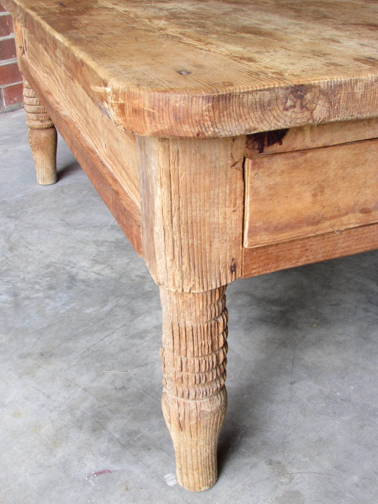Iron Worn and Weathered Rustic Pine Coffee Table For Sale