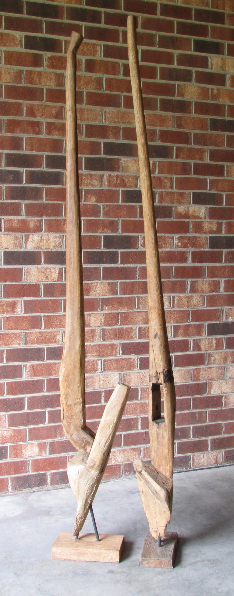 Rustic Pair of Ancient Wooden Farm Implements Mounted as Sculpture For Sale
