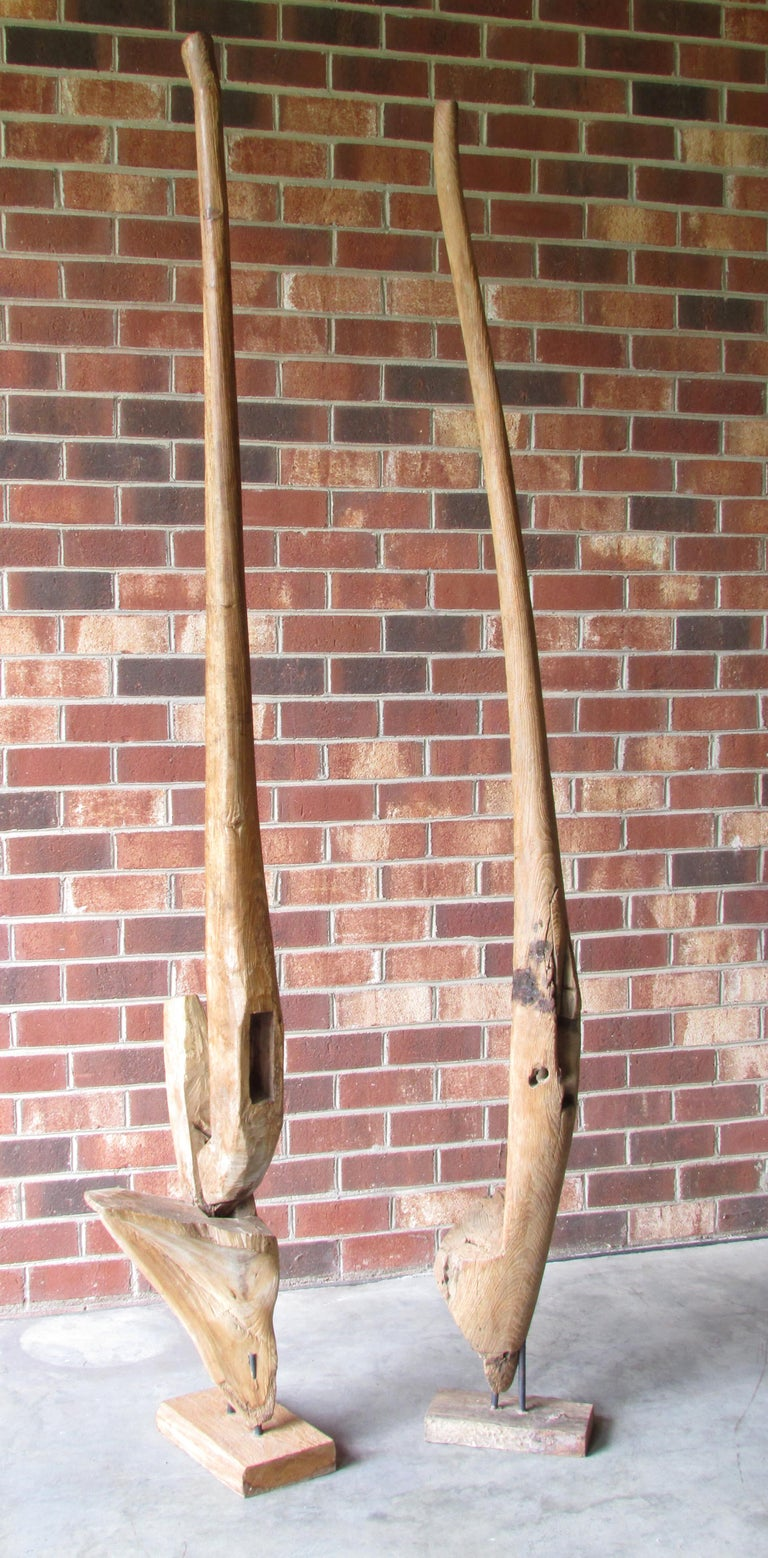 19th Century Pair of Ancient Wooden Farm Implements Mounted as Sculpture For Sale