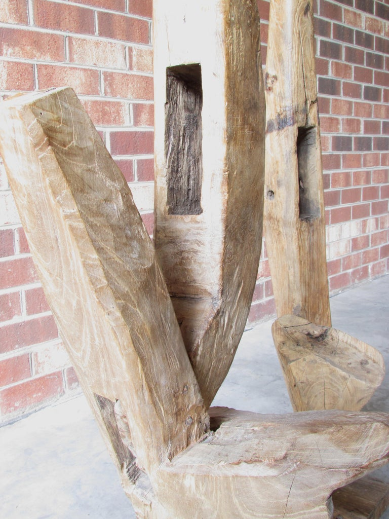 Pair of Ancient Wooden Farm Implements Mounted as Sculpture For Sale 4