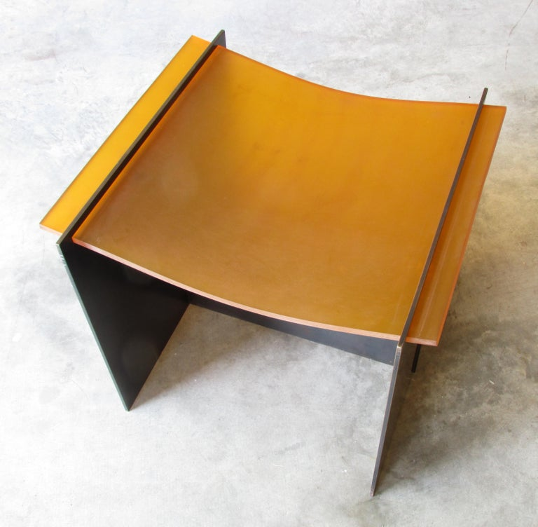 Blackened Rubber Seat Stool by Gulasso For Sale