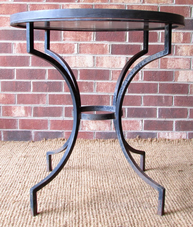 Wrought Iron and Slate Lamp Table In Good Condition For Sale In High Point, NC