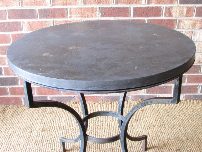 Late 20th Century Wrought Iron and Slate Lamp Table For Sale