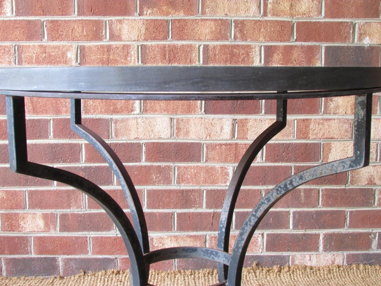 Wrought Iron and Slate Lamp Table For Sale 1