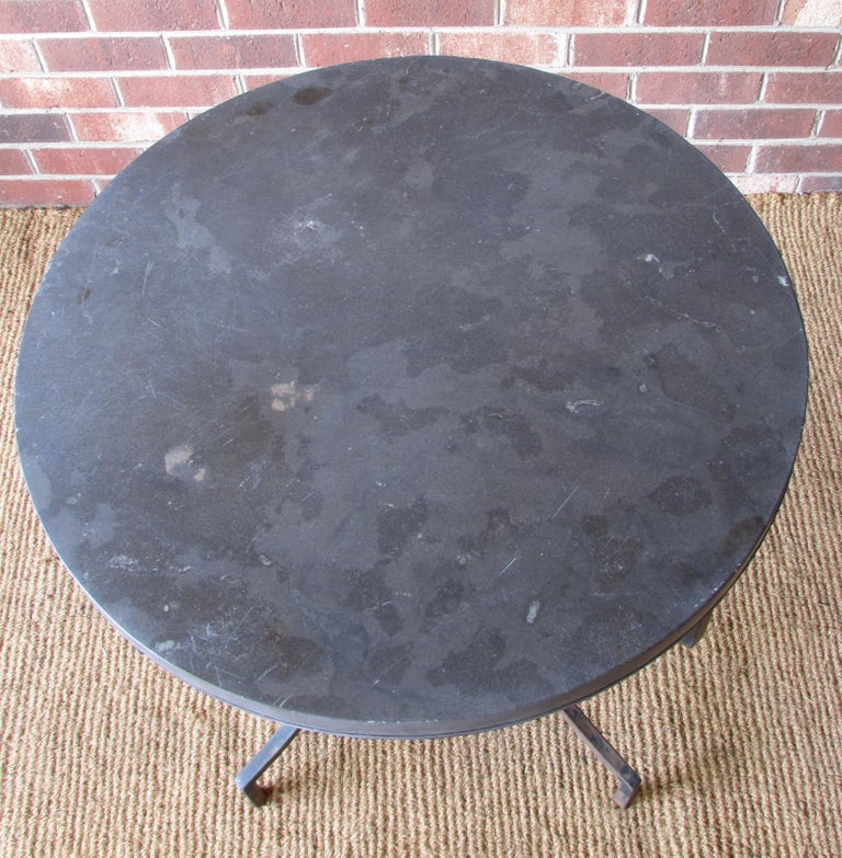 Wrought Iron and Slate Lamp Table For Sale 2