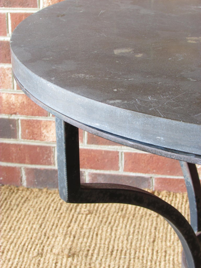 Wrought Iron and Slate Lamp Table For Sale 4