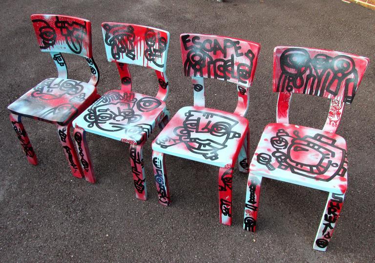 Set of vintage child size chairs by Thonet graffiti painted by Washington DC legendary artist kidboy.
