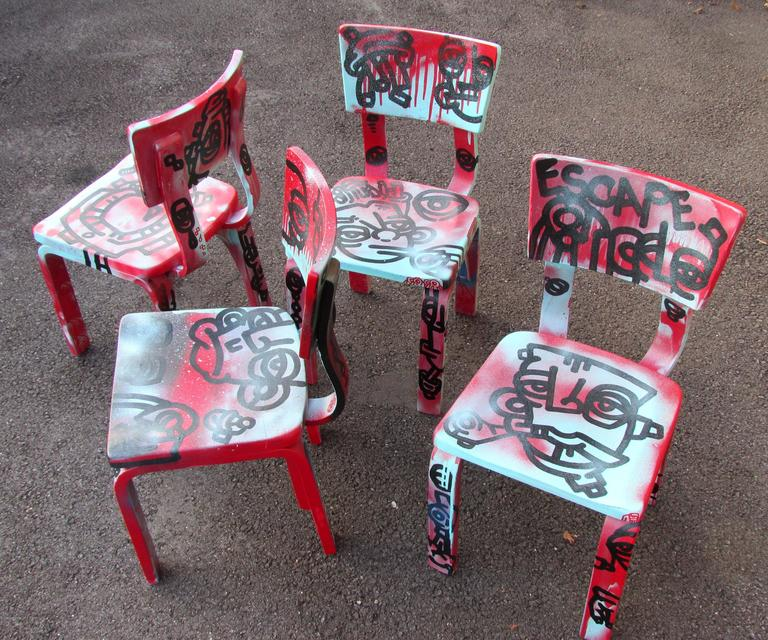 Mid-20th Century Set of Four Graffiti Painted Children's Thonet Chairs For Sale