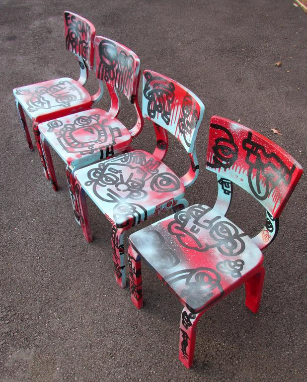 American Set of Four Graffiti Painted Children's Thonet Chairs For Sale