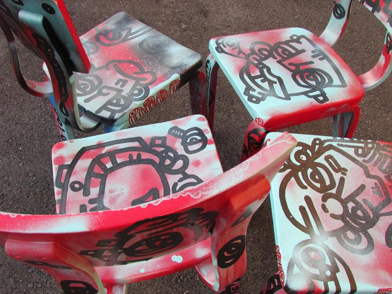 Set of Four Graffiti Painted Children's Thonet Chairs For Sale 2