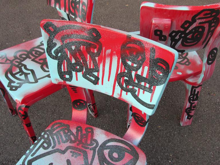 Set of Four Graffiti Painted Children's Thonet Chairs For Sale 4