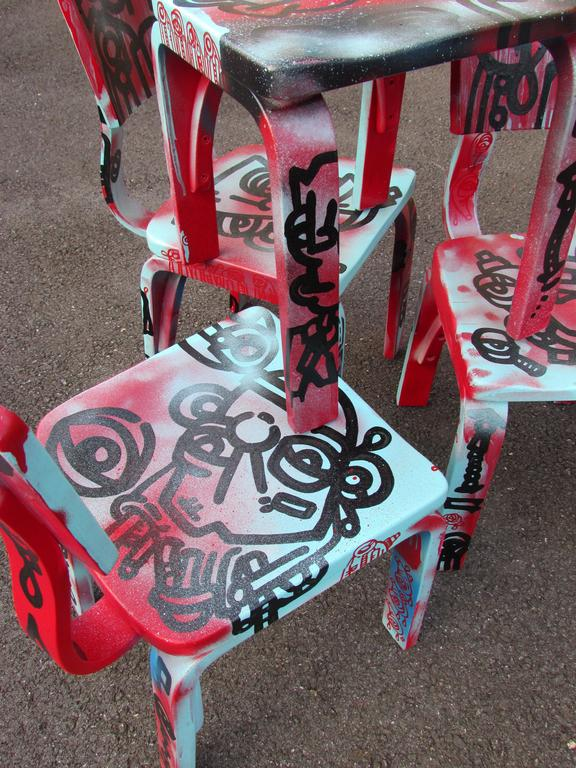 Set of Four Graffiti Painted Children's Thonet Chairs For Sale 3