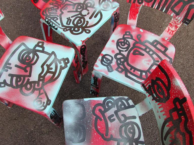 Wood Set of Four Graffiti Painted Children's Thonet Chairs For Sale