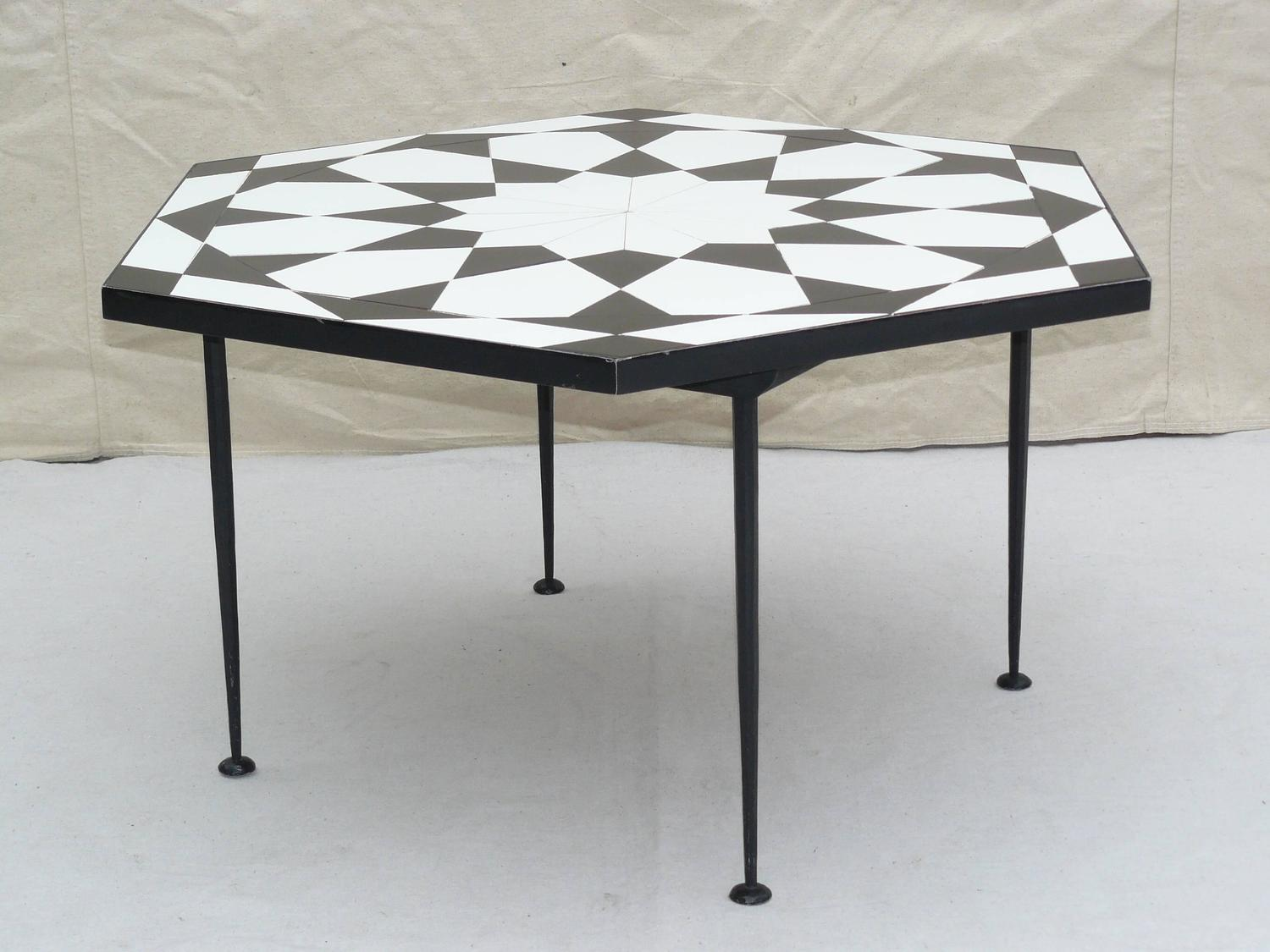 1960s Italian Mosaic Tile Top Op Art Coffee Table For Sale At 1stdibs