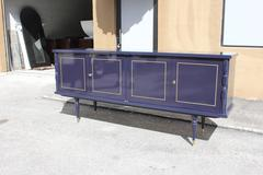 French Art Deco Sideboard / Buffet ''Blue Berry'' Lacquered Circa 1940