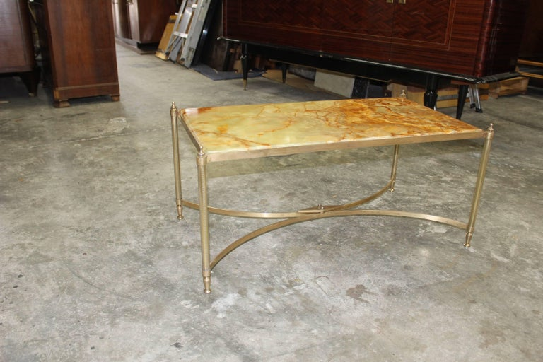 Art Deco French Maison Jansen Coffee or Cocktail Table Bronze Rectangular with Onyx Top For Sale