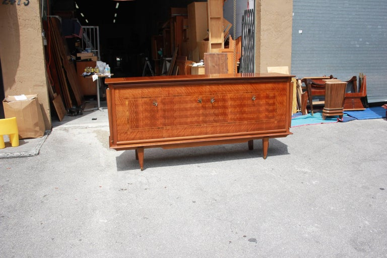Classic French Art Deco Light Macassar Ebony with Rosewood Sideboard or Buffet In Excellent Condition For Sale In Hialeah, FL