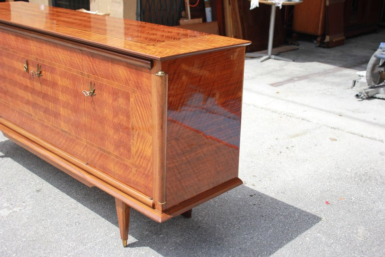 Mid-20th Century Classic French Art Deco Light Macassar Ebony with Rosewood Sideboard or Buffet For Sale