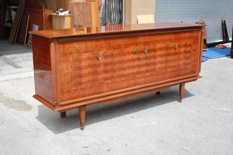 Brass Classic French Art Deco Light Macassar Ebony with Rosewood Sideboard or Buffet For Sale