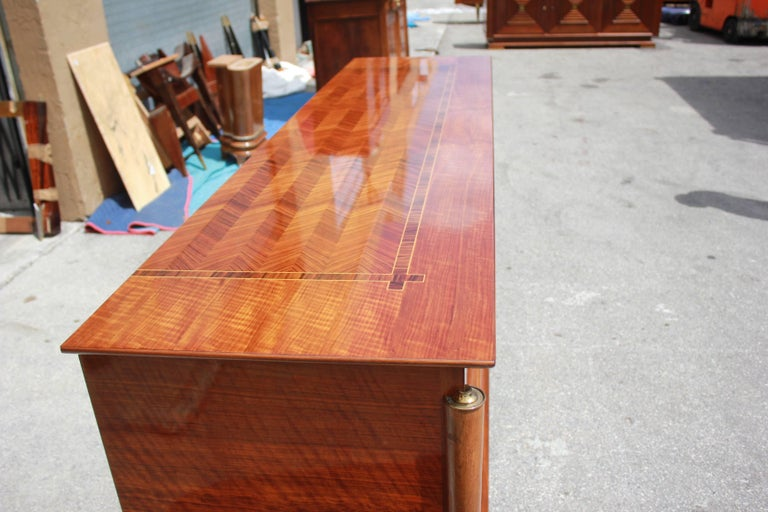 Classic French Art Deco Light Macassar Ebony with Rosewood Sideboard or Buffet For Sale 1