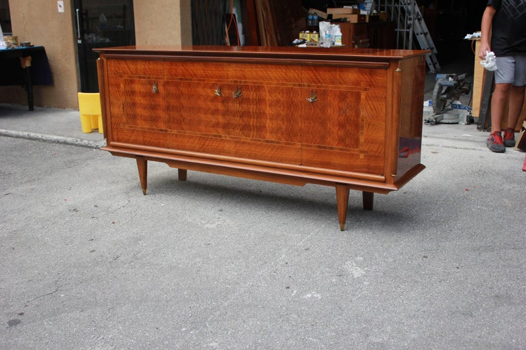 Classic French Art Deco Light Macassar Ebony with Rosewood Sideboard or Buffet For Sale 7