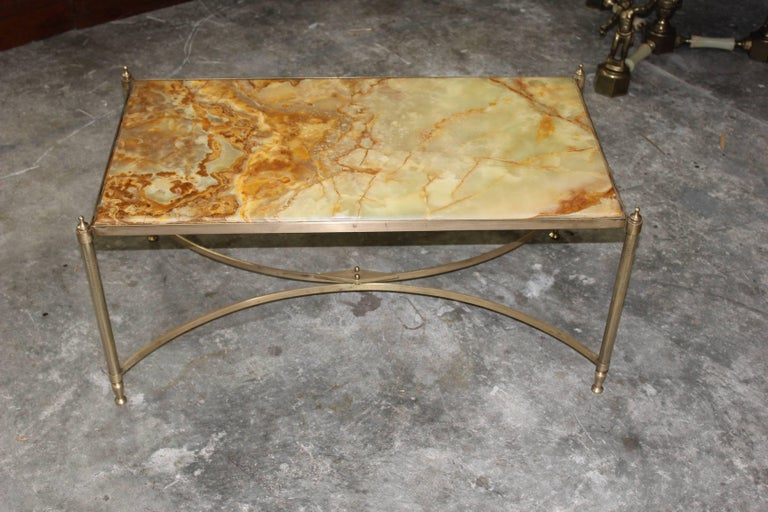 French Maison Jansen Coffee or Cocktail Table Bronze Rectangular with Onyx Top In Excellent Condition For Sale In Hialeah, FL