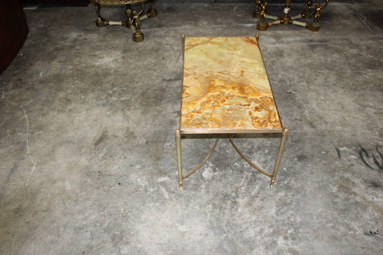 Mid-20th Century French Maison Jansen Coffee or Cocktail Table Bronze Rectangular with Onyx Top For Sale