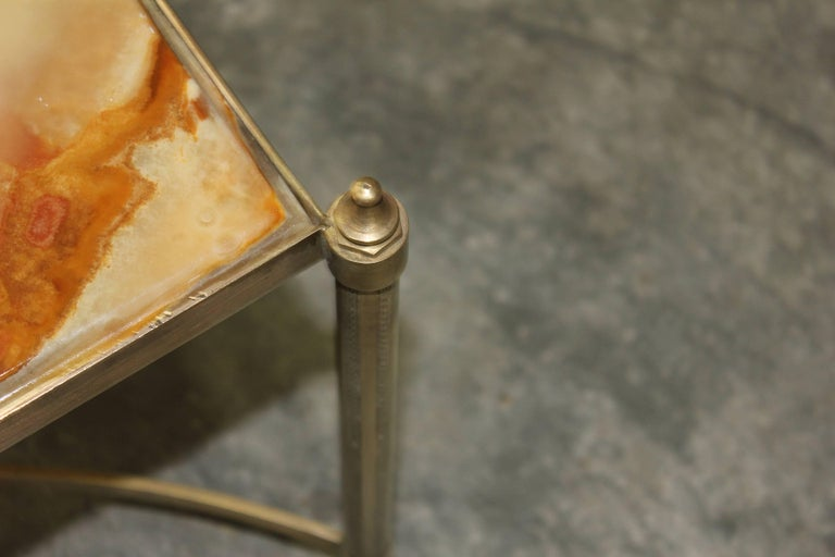Brass French Maison Jansen Coffee or Cocktail Table Bronze Rectangular with Onyx Top For Sale