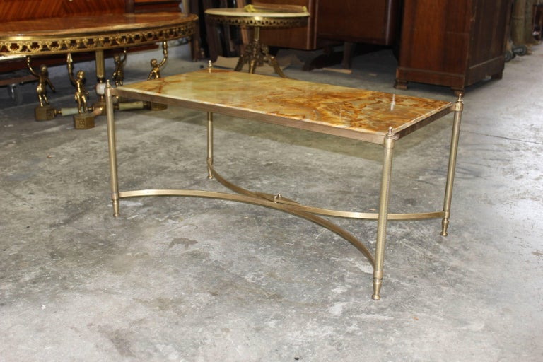 French Maison Jansen Coffee or Cocktail Table Bronze Rectangular with Onyx Top For Sale 1