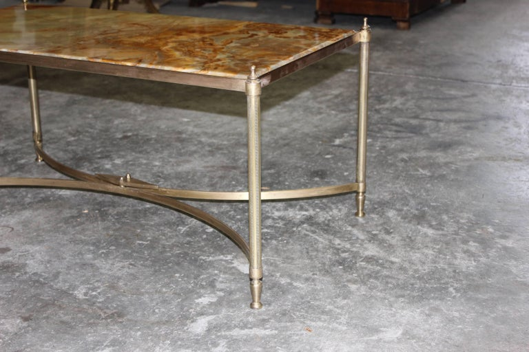 French Maison Jansen Coffee or Cocktail Table Bronze Rectangular with Onyx Top For Sale 5