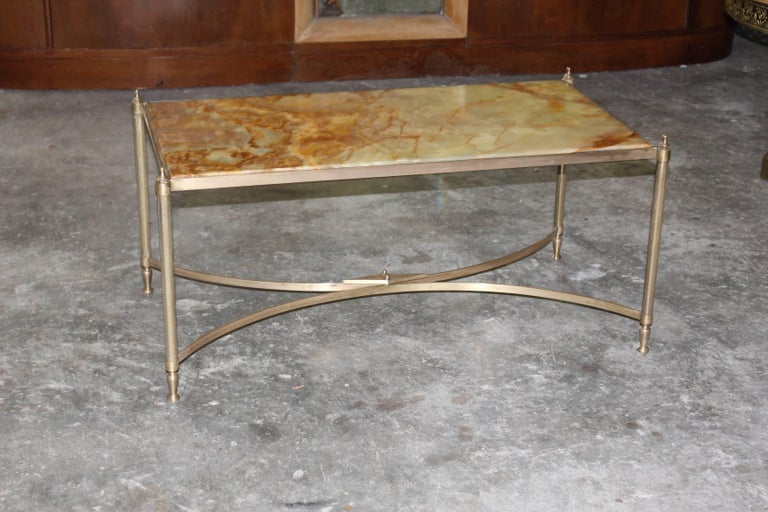 French Maison Jansen Coffee or Cocktail Table Bronze Rectangular with Onyx Top For Sale 7