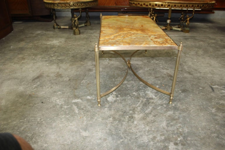 French Maison Jansen Coffee or Cocktail Table Bronze Rectangular with Onyx Top For Sale 8