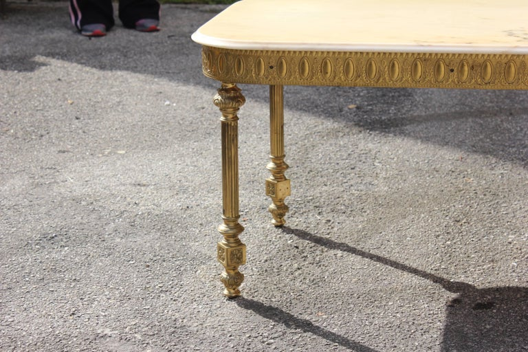 French Neoclassical Coffee or Cocktail Table Bronze Rectangular with Onyx Top For Sale 1