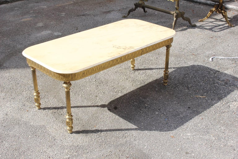 French Neoclassical Coffee or Cocktail Table Bronze Rectangular with Onyx Top For Sale 2