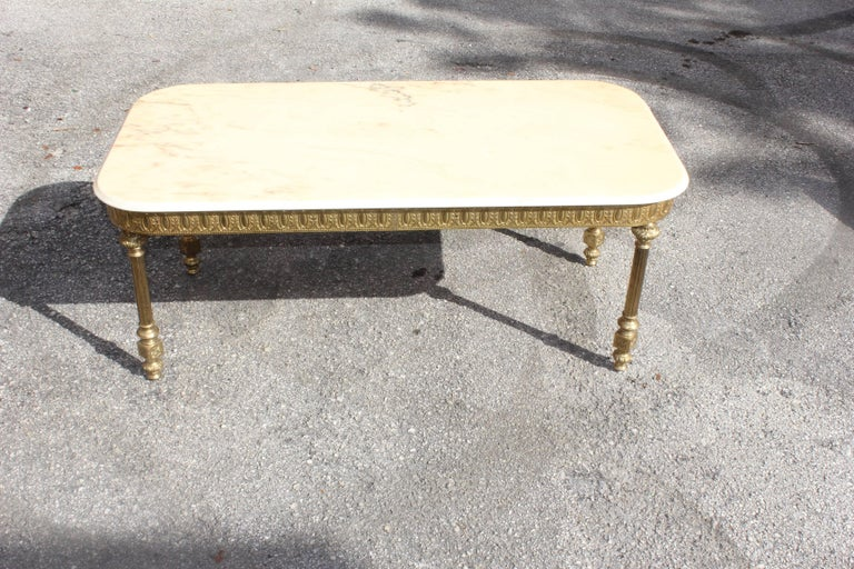 French Neoclassical Coffee or Cocktail Table Bronze Rectangular with Onyx Top For Sale 5