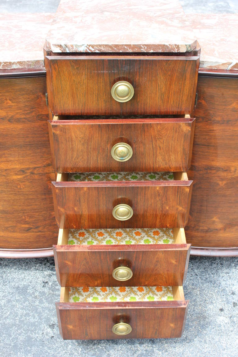 Monumental French Art Deco Sideboard or Buffet Macassar Ebony with Marble Top For Sale 1