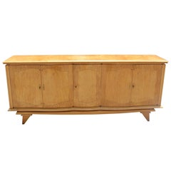 Long French Art Deco Sycamore Sideboard or Bar, circa 1940s