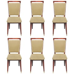 Beautiful Set of Six French Art Deco Solid Walnut Dining Chairs, circa 1940s
