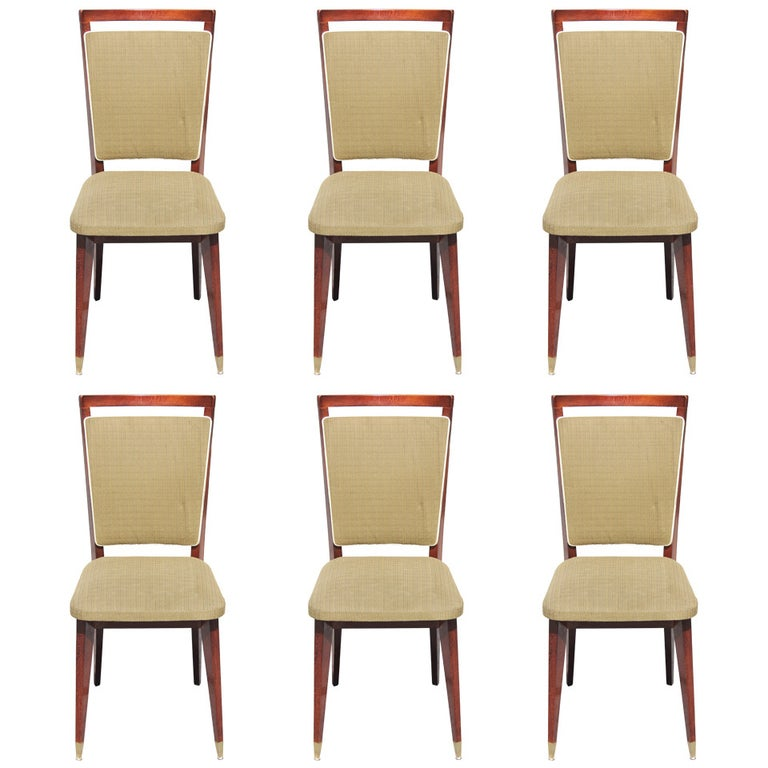 Beautiful Set of Six French Art Deco Solid Walnut Dining Chairs, circa 1940s For Sale