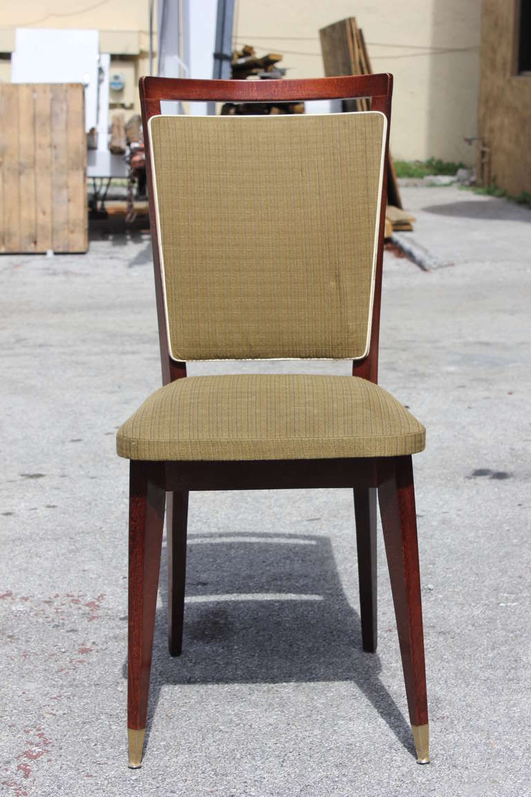 Beautiful Set of Six French Art Deco Solid Walnut Dining Chairs, circa 1940s In Good Condition For Sale In Hialeah, FL