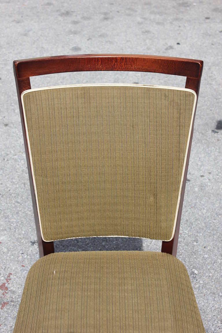 Mid-20th Century Beautiful Set of Six French Art Deco Solid Walnut Dining Chairs, circa 1940s For Sale